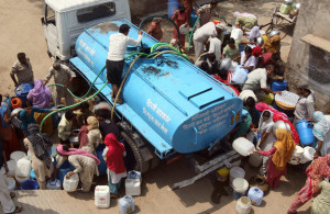 Water distribution by truck