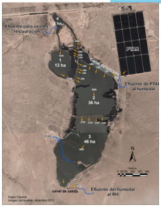 Annotated Satellite Image of Las Arenitas Treatment Facility (Courtesy Edgar Carrera, Univ Autónoma de Baja California)